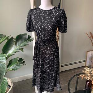 Zara Polka dot puff sleeves midi dress